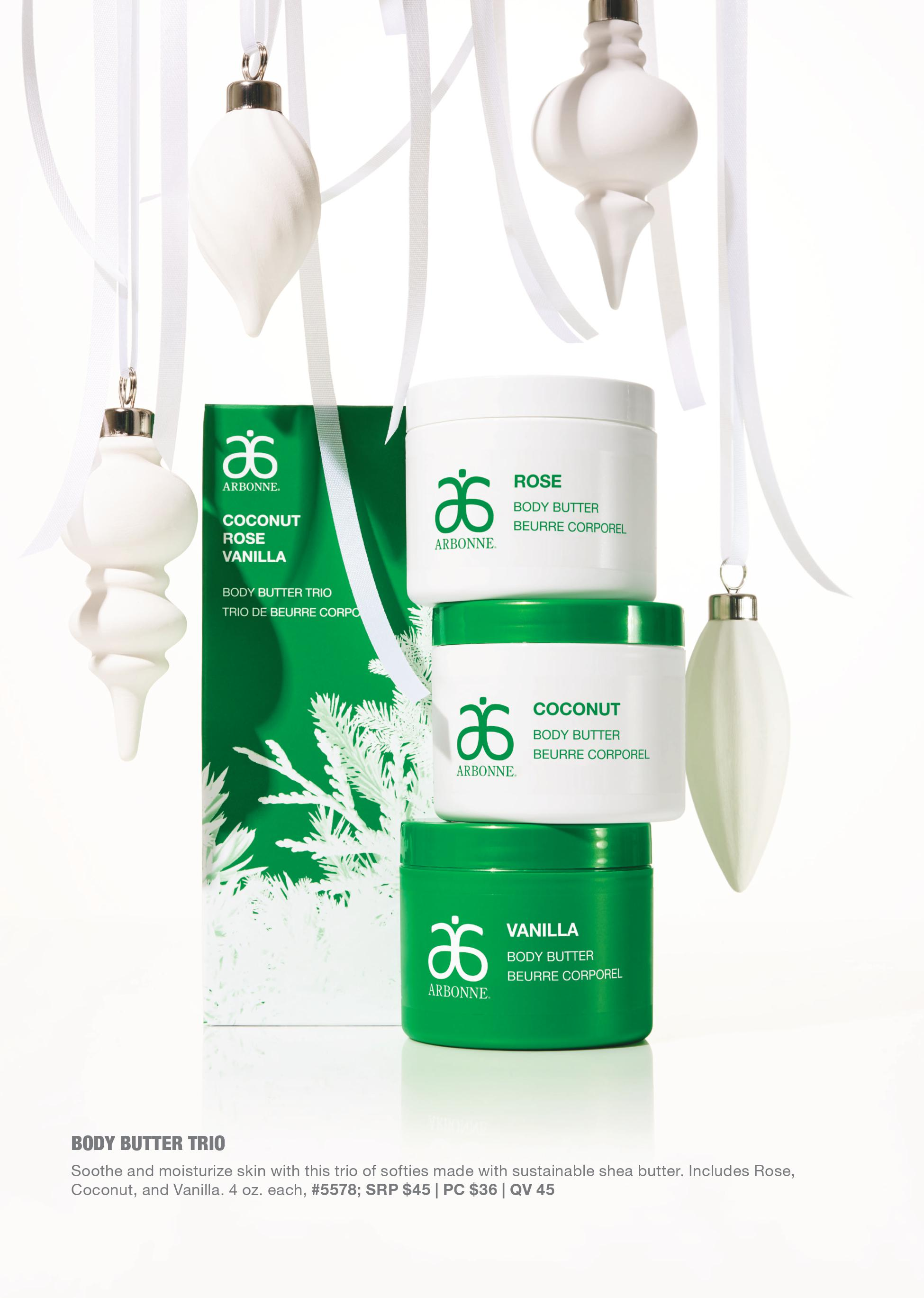 arbonne body butter trio holiday