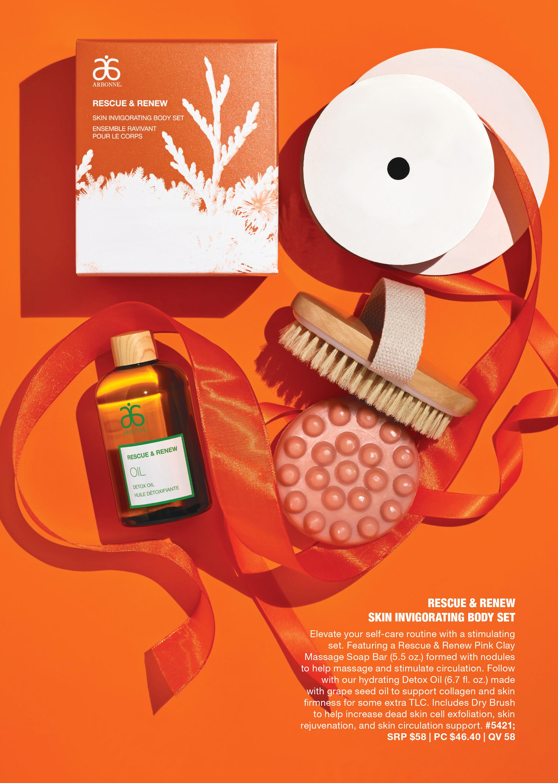 arbonne dry brush pink clay detox set
