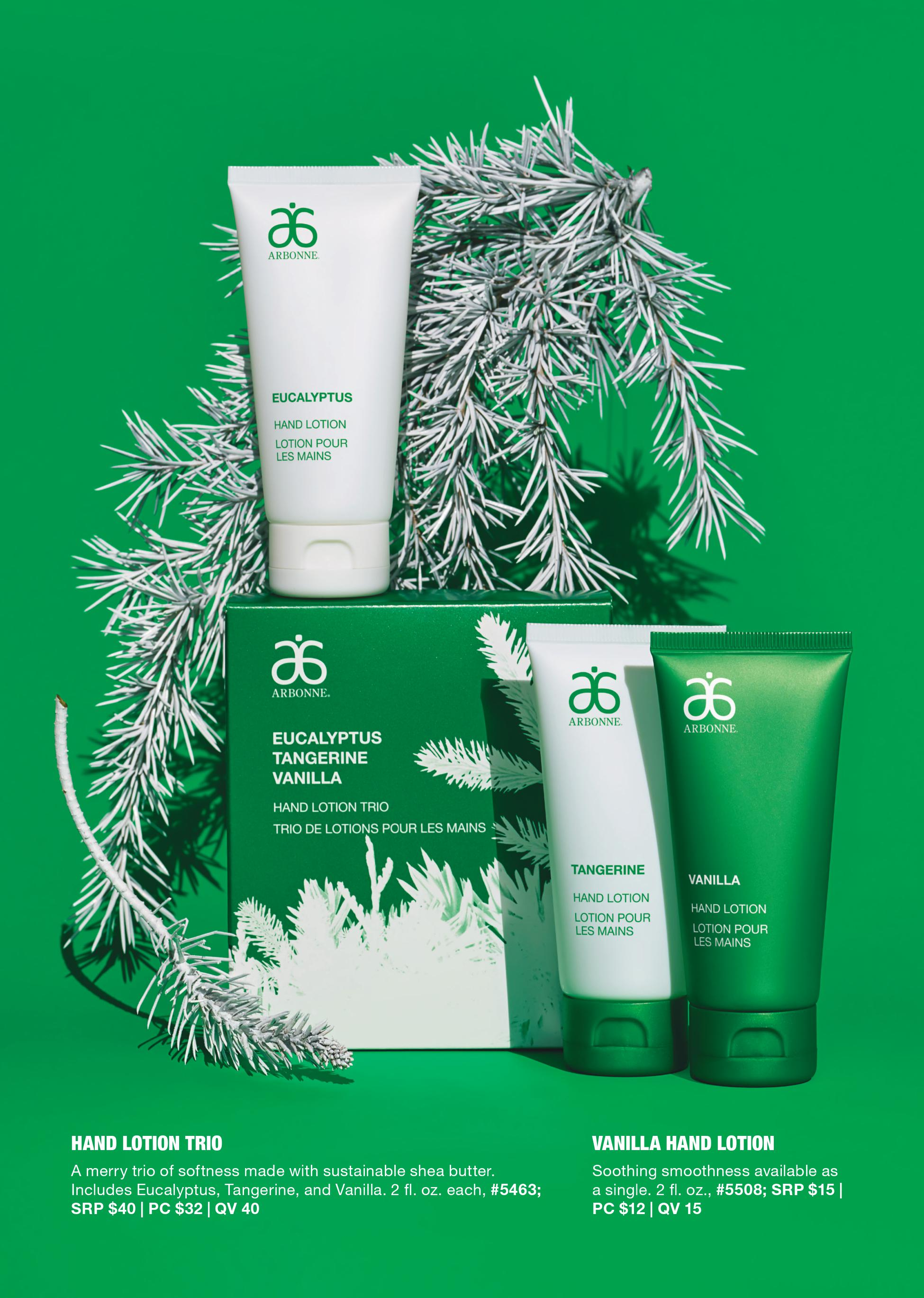 arbonne hand lotion trio holiday 2019