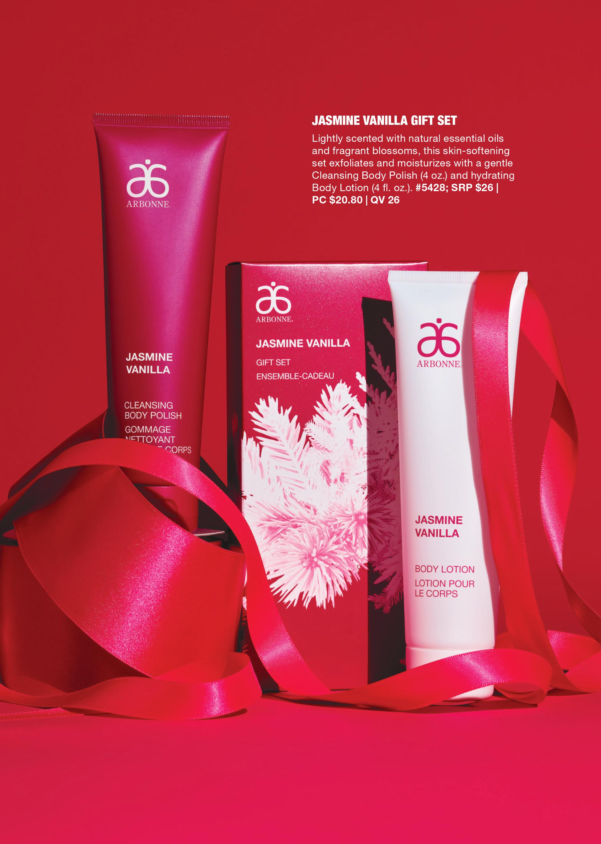arbonne holiday jasmine vanilla gift set