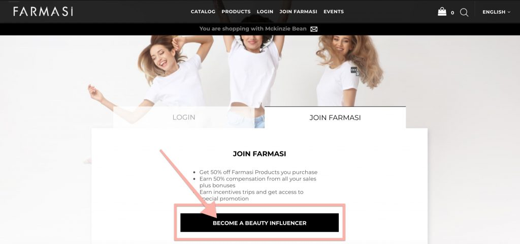 How to sign up as a farmasi beauty influencer